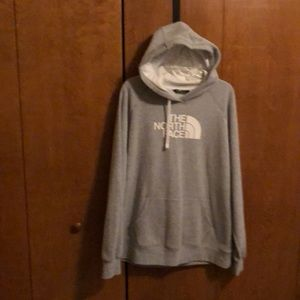 North Face grey hooded sweatshirt size xxl